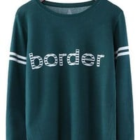 Green Monogram Long Sleeve Pullover