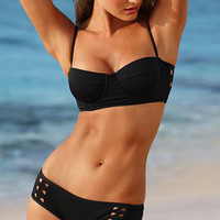 Black Fshion Sexy Hollow Bikini Swimsuit