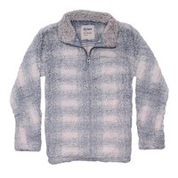 Big Plaid Frosty Tipped Women's Stadium Pullover in Blue by True Grit (Dylan) - FINAL SALE