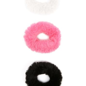 Faux Fur Scrunchie Set