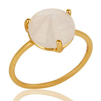 22K Yellow Gold Plated Sterling Silver Rainbow Moonstone Stackable Ring