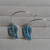 closing sale - Blue Leaf silvertone Creole Hoop Earrings