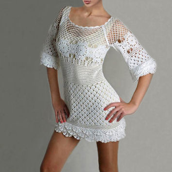Crochet dress PATTERN, crochet wedding dress, crochet party dress PATTERN, detailed written instructions in English, trendy cocktail dress.