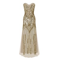Women's 20s Style Shining Flapper Dress 1920s Vintage Gatsby Great Gatsby Charleston Sequin Tassel Party Gold Mesh Sequins Dress