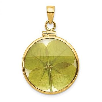 14K Yellow Gold Real Four Leaf Clover Necklace Charm