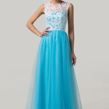 White And Deep Sky Blue Sleeveless Lace Mesh Flounce Maxi Evening Dress