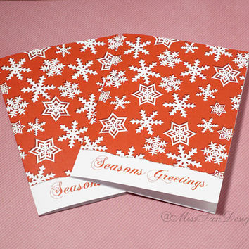 Christmas Card, Set of 2, Seasons Greetings, Bible Verse Inside, Snowflake, Red, XMAS Gift, Romans 15:13