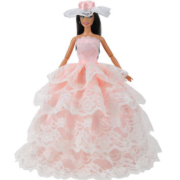 E-TING Fashion Peach Doll Clothes Evening Party Dress Ballgown Hat For Barbie