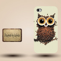 unique iphone case, i phone 4 4s 5 case,cool cute iphone4 iphone4s  5 case,stylish plastic rubber cases cover,owl coffee funny  p946