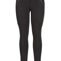 The Skinny Knit Pant With Quilted Trim - Black