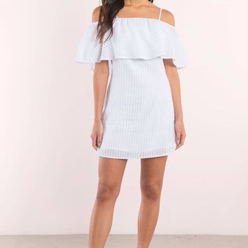 Sandra Striped Cold Shoulder Shift Dress