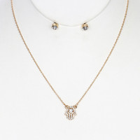 Pave Crystal Stone Hamsa Necklace Set