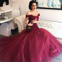 Sexy Burgundy Party Lace Mermaid Prom Dresses Off Shoulder Tulle Evening Dresses for Graduation Promdress vestido de festa