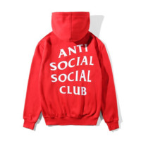 """ANTI SOCIAL SOCIAL CLUB""Letter Print Fashion Women Men Casual Hoodie Top Sweater(4-Color)"