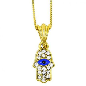 Gold Layered 04.118.0086.18 Fancy Necklace, Greek Eye and Hand of God Design, with White Crystal, Blue Enamel Finish, Gold Tone