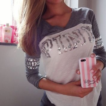 Fashion Letter Print Sequins V-neck Long sleeves T-shirt