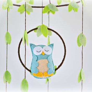 Owl mobile - woodland - baby mobile - nursery decor - swan and peach - crib mobile - MADE TO ORDER