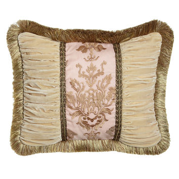 "Alessandra Pillow with Ruched Velvet Sides & Brush Fringe, 16"" x 21"" - Sweet Dreams"