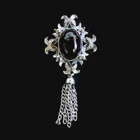 Victorian Revival Tassel Brooch, Large Black Glass Cabochon In Silver Tone