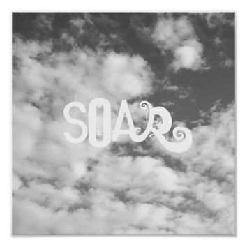 quote poster soar on clouds and sky nature photo