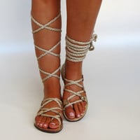 "NEW Women's Gold Leather Sandals, Unique design, with braided straps.Bridal shoes  ""APHRODITE"" AS26"