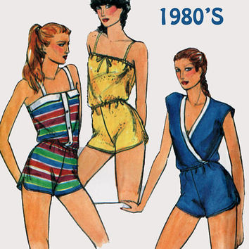 Vintage 1980s Sexy Rompers / Jumpsuits w/ shoulder straps or Mock Wrap Sewing Pattern Butterick 3173 80s Sewing Pattern Size 12-16 UNCUT
