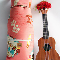 Soprano ukulele case / hula girl pink with ribbon lei / ukulele soft case / hawaiian fabric / tropical / surfboard / instrument case