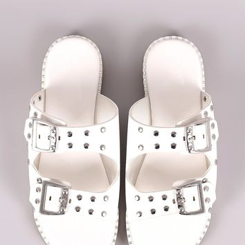 Bamboo Studded Buckled Double Band Flat Sandal