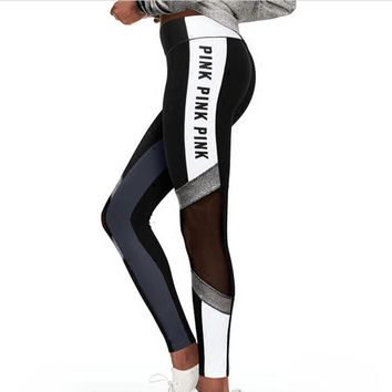 Pink letters Black and white navy blue splicing bright print yoga bottom pants female sports running pants