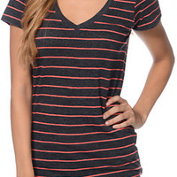 Zine Girls Beta Charcoal & Red Stripe Slub V-Neck Tee Shirt