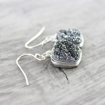 Silver Druzy Earrings, Sterling Silver Earrings, Druzy Gemstone Earrings, Druzy Quartz Earrings, Wire Wrap Earrings, Platinum Earrings