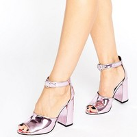 Office Stella Pink Mirror Flare Heeled Sandals at asos.com
