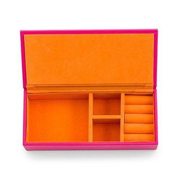 Vegan Leather Jewelry Box - Pink with Orange (Pack of 1)