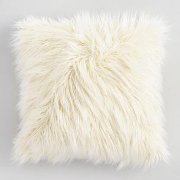 Ivory Mongolian Faux Fur Throw Pillow