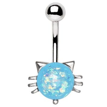 14 gauge Blue opal cat belly button ring