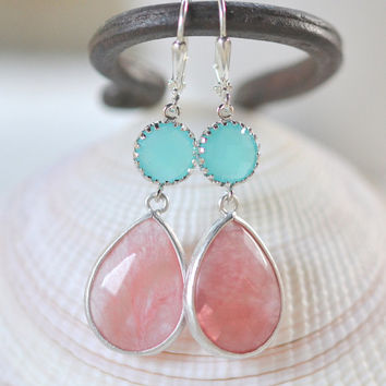 Large Grapefruit Pink Teardrop and Turquoise Dangle Bridesmaid Earrings in Silver.  Glass Drop Earrings. Turquoise Dangle Earrings.