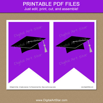 Purple & Black Graduation Banner Printable - Graduation Party Decorations 2016 - EDITABLE Graduation Party Printables - Digital Download