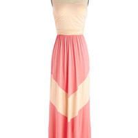 ModCloth Long Strapless Maxi Easygoing Agenda Dress