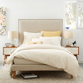 Tall Nailhead Tapered Leg Bed - Linen Weave