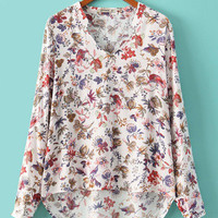 Casual V-neck Flowers Printed Long Sleeves Cotton Blouse Long in Back Short in Front