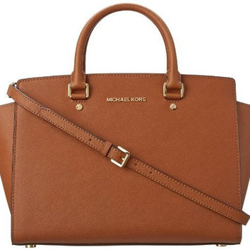 Michael Kors Women's Selma Large Trapeze Satchel, Brown