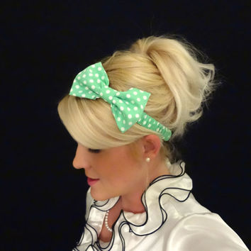 Mint green and white polka dot bow stretch headband pinup/retro/feminine