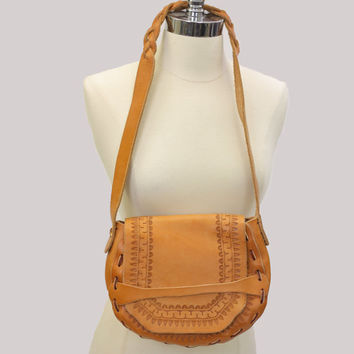 Boho leather shoulder bag tan tooled cross body bag Hippie purse leather braid handle leather laced bag