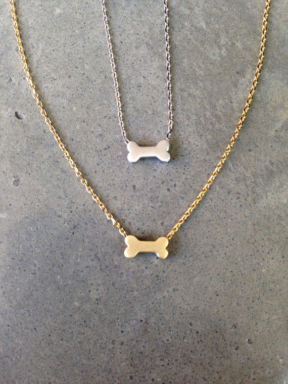 Gold dog bone necklace dog jewelry from BijouLimon on Etsy