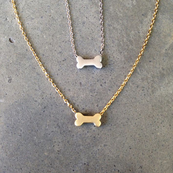 Gold dog bone necklace, dog jewelry, personalize, dog lover, mothers day gift