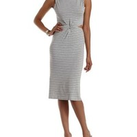 Gray Combo Knotted & Cut-Out Midi Dress by Charlotte Russe