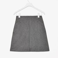 Wool-mix A-line skirt
