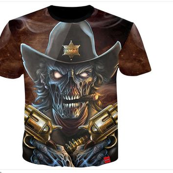 Skull Cowboy Guns Print 3D Print Both Side Hip Hop Short Sleeve Mens