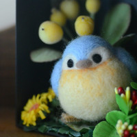 Blue bird in miniature garden diorama, needle felt bird in flowers shadow box, handmade bird figurine, home decor ornament, gift under 30
