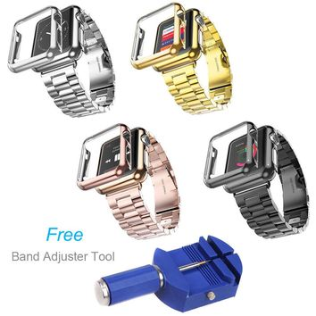 DAHASE Gold Plated Cover Case 316L Stainless Steel Watch Band For Apple Watch Series 1 2 3 iWatch 42mm 38mm Strap + Adjust Tool